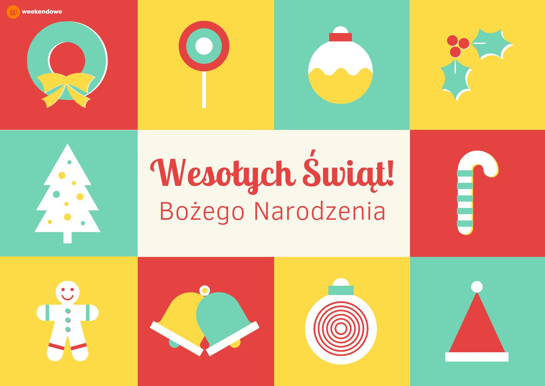 Kolorowa kartka na Boże Narodzenie