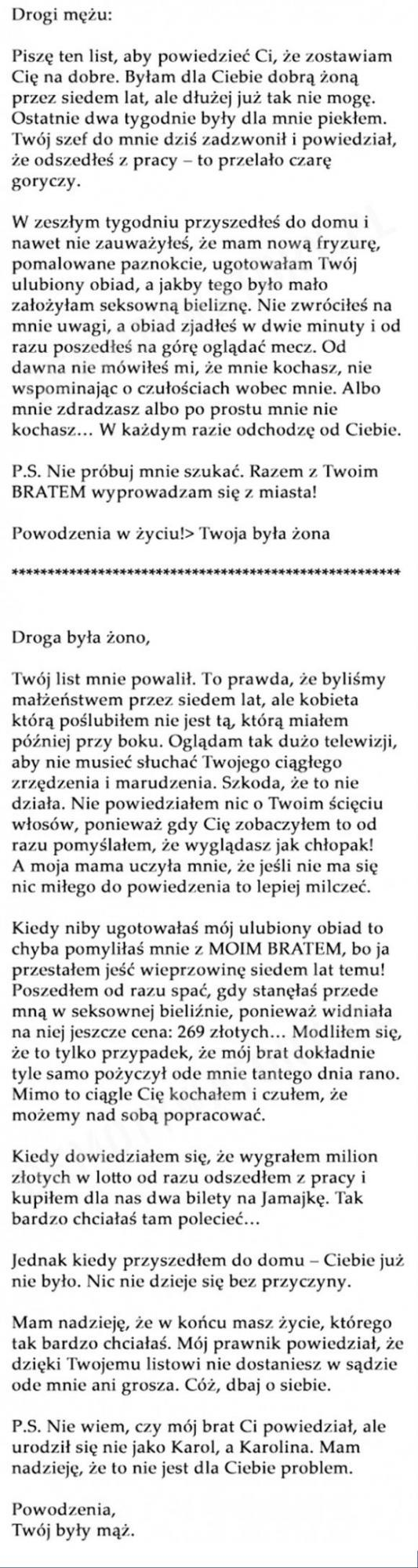 List do męża