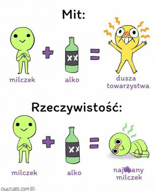 Milczek + alkohol = ?