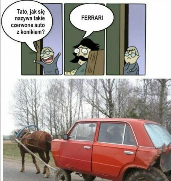 Czerwony pojazd z konikiem :D