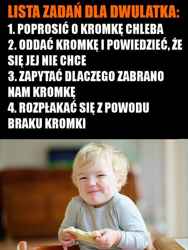 Lista zadań dla dwulatka :D
