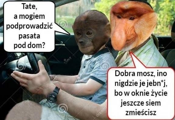Mały Pjoter kierowcą :D