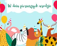 Kartka ze zwierzętami na pierwsze urodziny