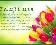 Kartka na imieniny z kwiatami