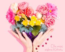 Serce na dzień kobiet kartka