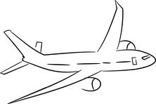 Samolot w locie szkic