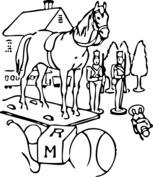 Koń przed domem