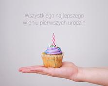 W dniu 1 urodzin kartka