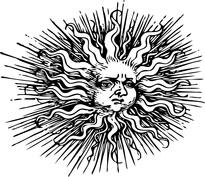 Promieniste słońce twarz