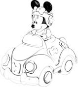 Myszka Minnie w aucie