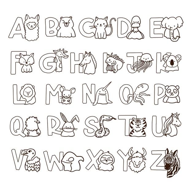 Alfabet ze zwierzętami kolorowanka do druku