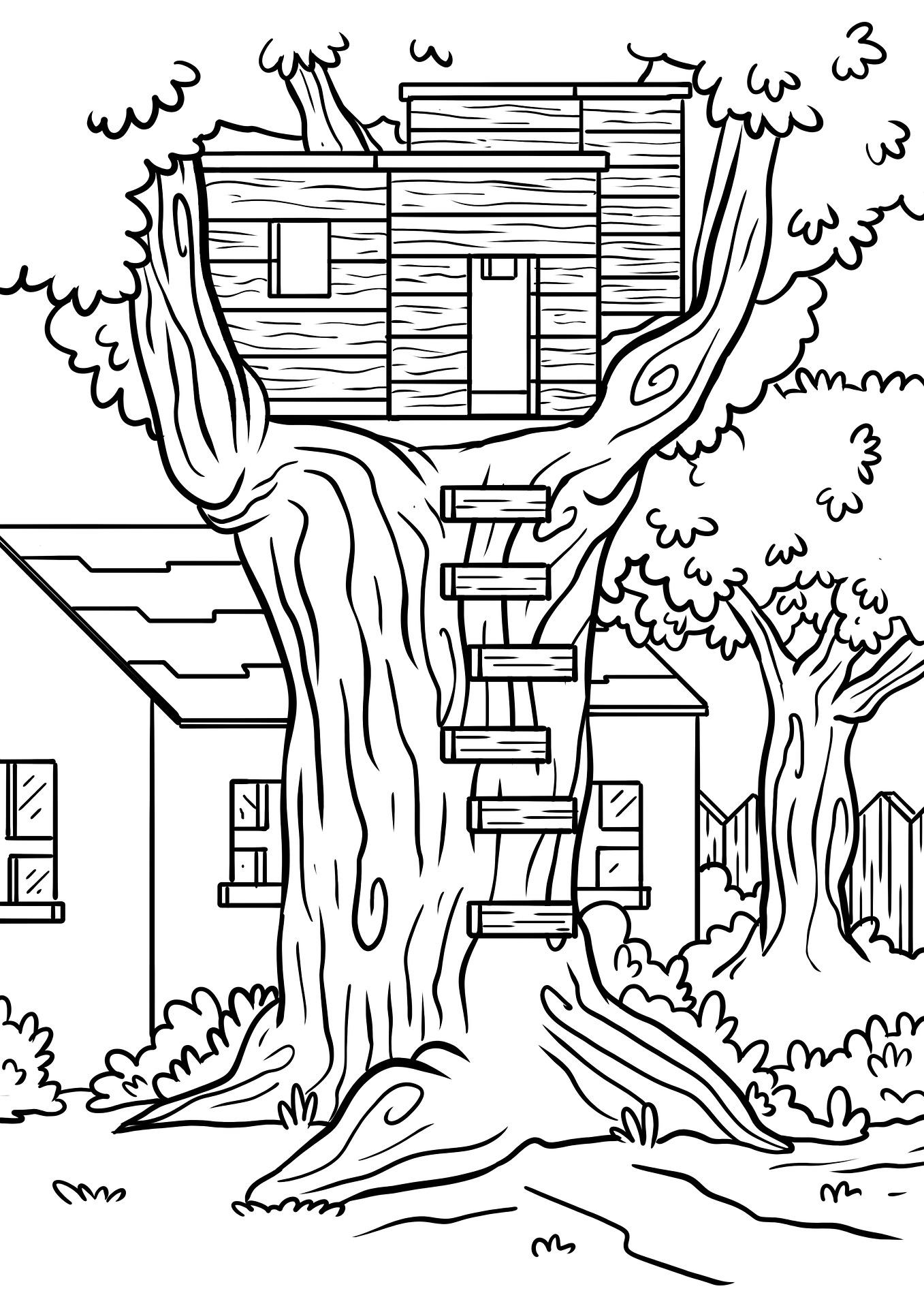 domek na drzewie kolorowanka do druku